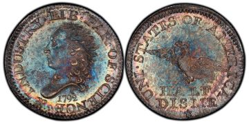 """Anverso y reverso del """"Half Disme"""" de 1792"""