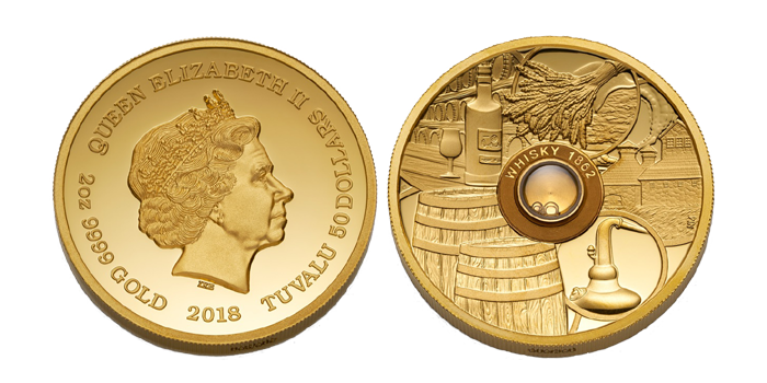 Anverso y reverso de la moneda de oro emitida por Tuvalu y dedicada al whisky