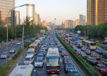 Atasco en las calles de Pekín (China)