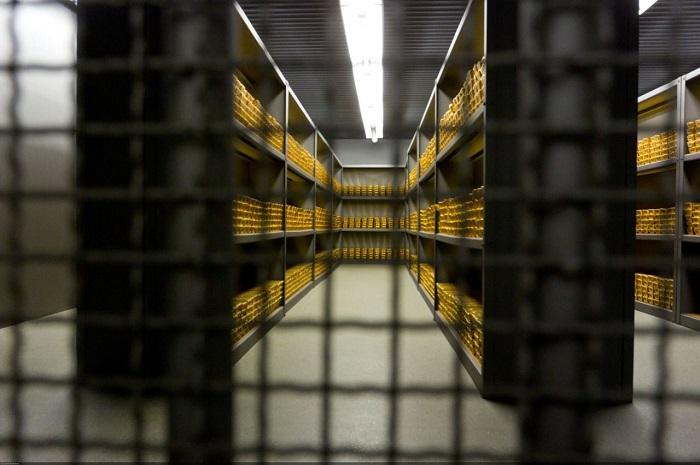 Lingotes de oro en la cámara acorazada del Bundesbank (Alemania)