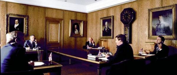 Los representantes de los cinco bancos, en pleno proceso de fijación del precio