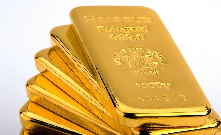 Lingotes de oro de la refinería suiza Heraeus