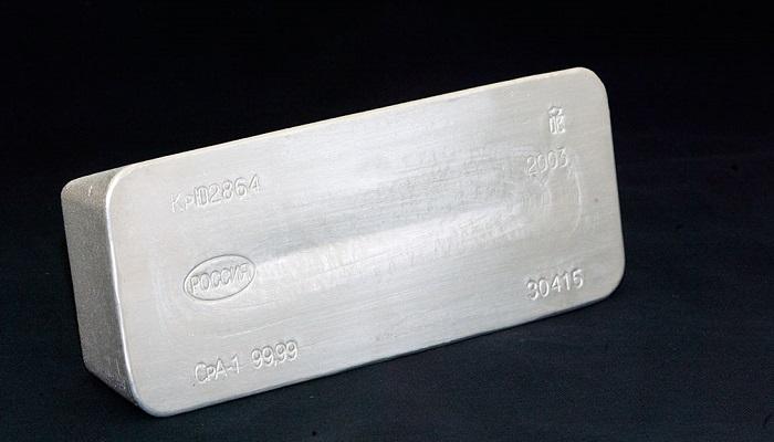 Lingote de plata de Nornickel