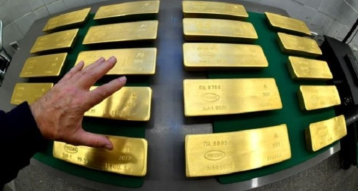 Lingote de oro de las reservas del Banco Central de la Federación Rusa
