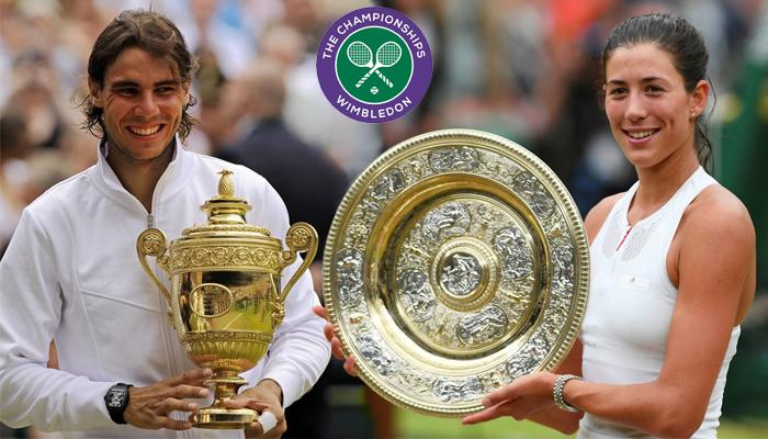 Rafa Nadal y Garbiñe Muguruza, con sus trofeos de ganadores de Wimbledon