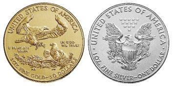Reversos actuales de los American Eagle de oro y plata