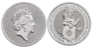 Anverso y reverso del bullion de platino León Blanco de Mortimer, acuñado por The Royal Mint