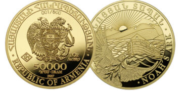 Bullion de oro Arca de Noé, acuñado para Armenia por Geiger Edelmetalle
