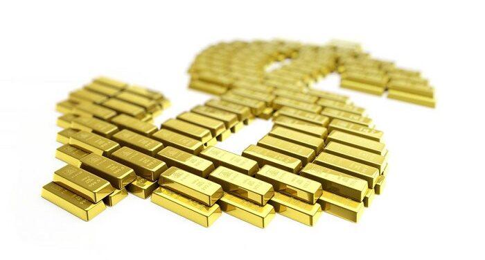 Símbolo del dólar formado por lingotes de oro