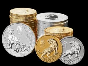 Las tres versiones del bullion dedicado al Año Lunar del Tigre