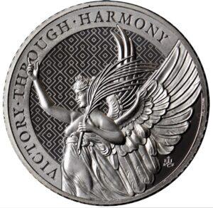 Reverso de la moneda de platino dedicada a la Victoria