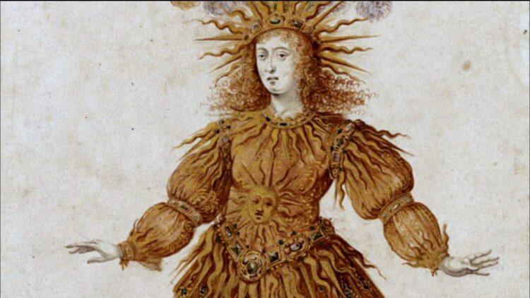 Grabado del traje de oro de Luis XIV